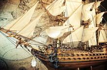 Old Pirate Sailboat, Ship Mode...