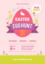 Easter Egg Hunt Poster Vector Illustration. Egg With Spring Floral On Pink Dot Pattern Background. Flyer Design