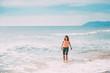 Happy Young Caucasian Lady Woman Walking In Summer Sea Ocean Beach