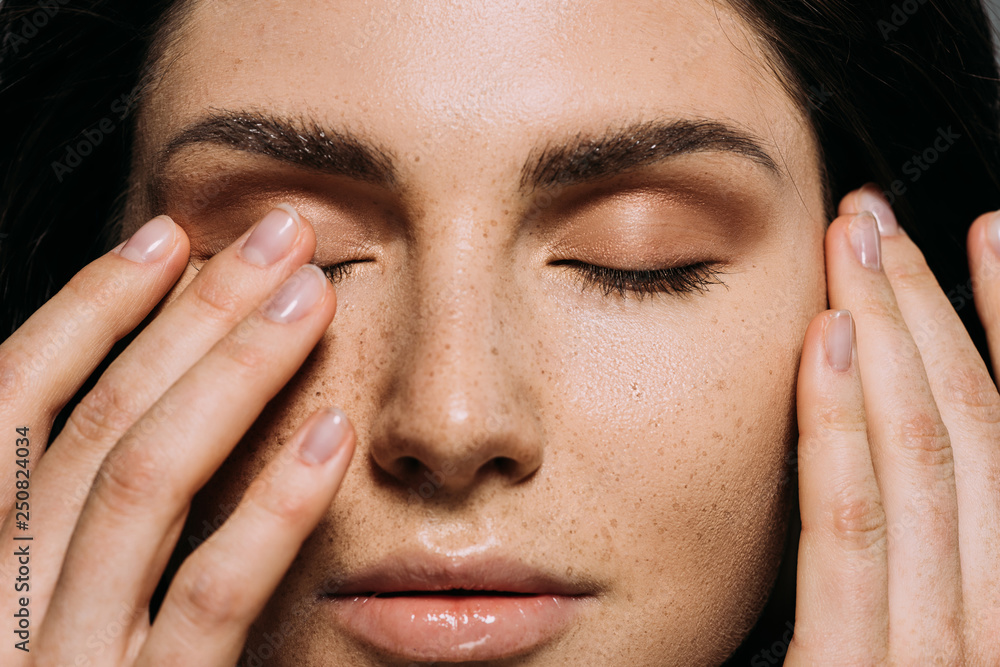Fototapety, obrazy: close up view of tender girl with freckles on face touching closed eyes