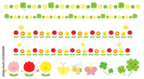 春の花と虫の飾り罫線のイラスト素材 Buy This Stock Illustration And