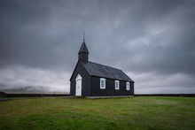 Church Budir In Budahraun Lava Fields On South Coast Of Snæfellsnes Peninsula At Western Iceland