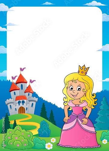 Tuinposter Voor kinderen Princess and castle theme frame 1