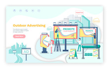Outdoor Advertising Vector, Billboard Announcements. Website Or Webpage Template, Landing Page Flat Style, Business Marketing On Boards Cityscape