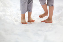 Children Feet In Snow Barefoot, Health Care