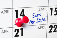 Wall Calendar With A Red Pin - April 14