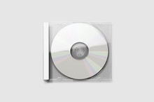 Blank CD Case Mock Up Isolated On Soft Gray Background.