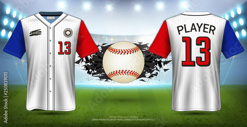 Fotografia, Obraz Baseball Uniforms & Jerseys, Short Sleeve Shirt Mockup, Design for Sport Poster, Banner, Flyer, Brochure or Presentations Template, Vector EPS10 fully editable, Easy Possibility to Apply Your Artwork