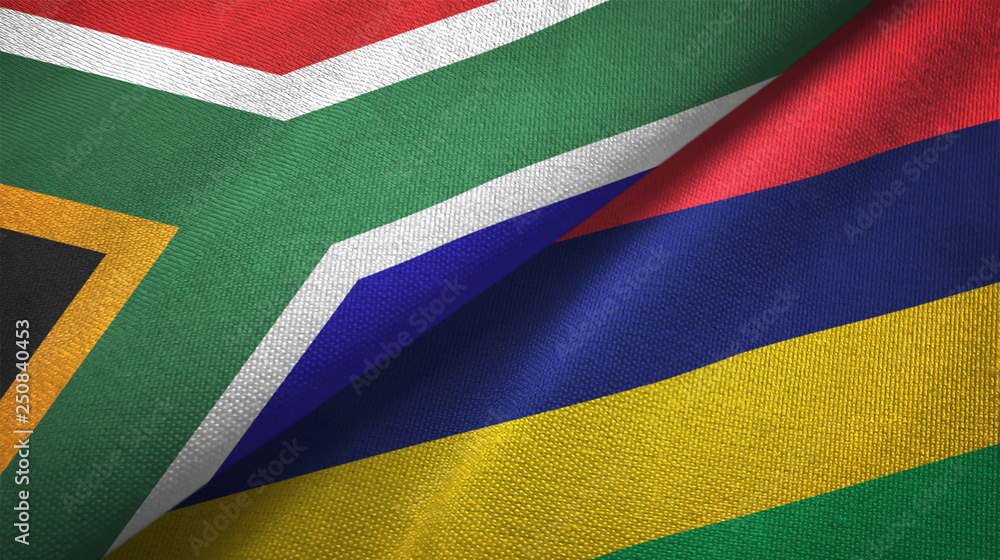 Fototapety, obrazy: South Africa and Mauritius two flags textile cloth, fabric texture