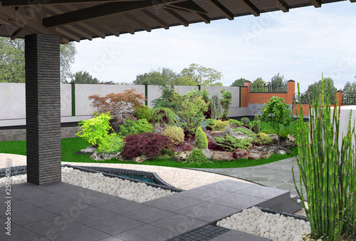 Poster Marron chocolat View out the gazebo to garden, 3D render