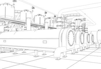 oil refinery, chemical production, waste processing plant, contour visualization, 3D illustration, sketch, outline