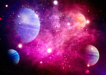 blue star particle motion on black background, starlight nebula in galaxy at universe Space background. Chaotic space background. The elements of this image furnished by NASA.
