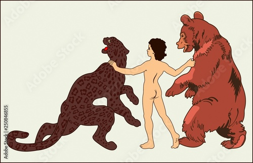 Photo  BOY WITH THE BEAR AND PANTHERA
