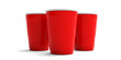 canvas print picture - Plastic red color cups isolated on white background. 3d illustration