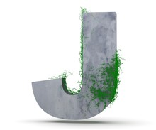 Concrete Capital Letter - J From Which The Vine Grows, Isolated On White Background. 3D Render Illustration