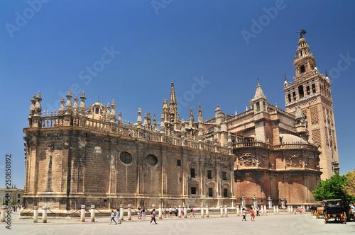 Sevilla Cathedral (Catedral de Santa Maria de la Sede), Gothic style architecture in Spain, Andalusia region.