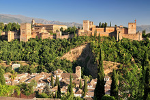 Spain Andalusia Granada View From Patio De La Acequia To Alhambra Overall View Of Alcazaba City Castle On The Hill Sabikah.