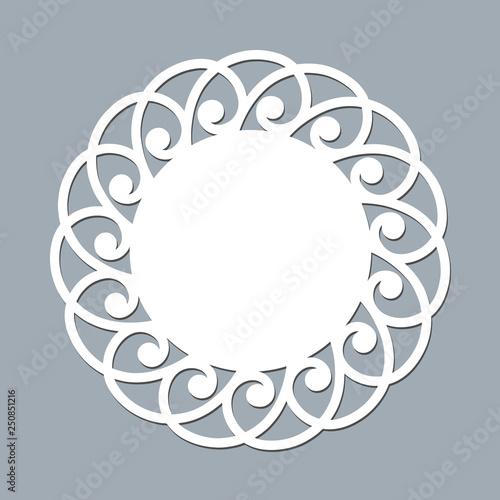 Fotografia, Obraz  Lace doily laser cut paper Round pattern ornament Template mockup of a white lac