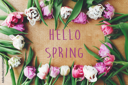 Fotografía Hello spring text sign on beautiful double peony tulips frame flat lay on wooden table