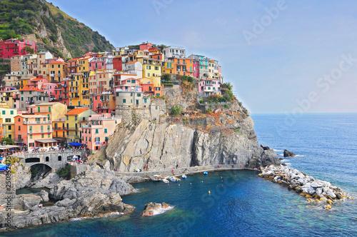 Fotobehang Liguria Manarola, small town in province La Spezia, Liguria, northern Italy. It is the second smallest of famous Cinque Terre.