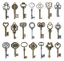 Set Of Vintage Ornate Keys On White Background