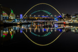 The bridges over the river Tyne at night in Newcastle, England