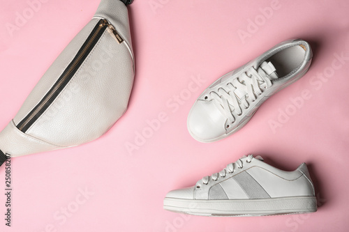 Flat lay composition of stylish shoes and bum bag on color background Canvas Print