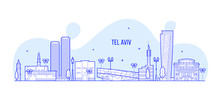 Tel Aviv Skyline Israel City Buildings Vector Line