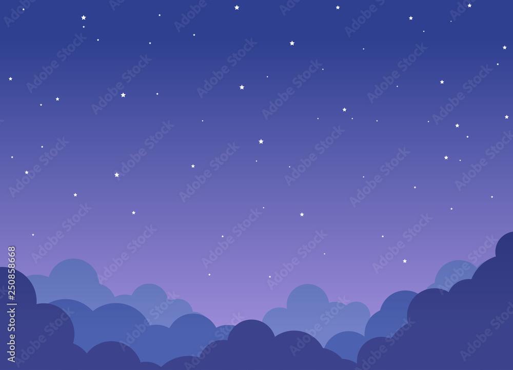 Fototapety, obrazy: Night cloudy sky background with shining stars