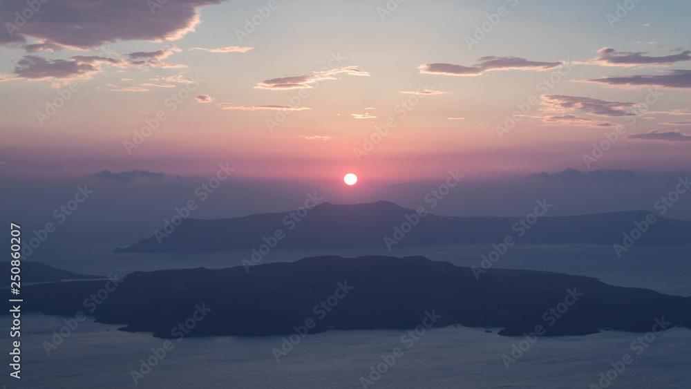 Fototapety, obrazy: Sunset on the Nea Kameni vulcano
