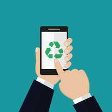 Recycle Sign On Smartphone Scr...