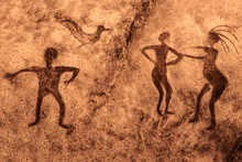 Image Of Ancient People On The Wall Of The Cave. History Of Antiquities, Archaeology.
