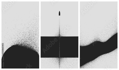 Fotografie, Obraz  Set of black and white backgrounds with dust explosion and particle spraying