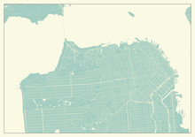 San Francisco USA Map In Retro Style