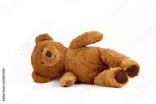 fototapeta na szkło soft toy bear on white background