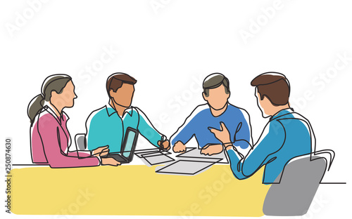 Obraz continuous line drawing of office workers at business meeting - fototapety do salonu