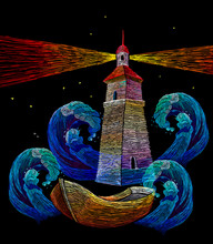 Embroidery Lighthouse, Boat An...