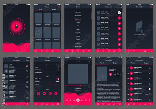 Obraz audio book ui design app - fototapety do salonu
