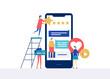 Testimonials on social media - flat design style colorful illustration