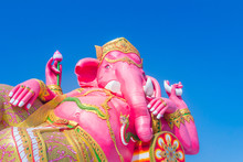 Giant Pink Ganesha Statue Wat Samarn, Chachoengsao, Thailand. Ganesha Also Known As Ganapati, Vinayaka, Pillaiyar And Binayak, Is One Of Best-known And Most Worshipped Deities In The Hindu Pantheon.