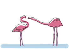 Single Line Drawing Of Two Flamingos