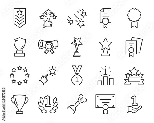 Fotografie, Tablou  set of award line icons, such as star, champion, prize, acheivement, winner, tro