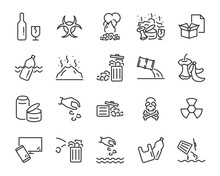 Set Of Water Pollution Icons, ...