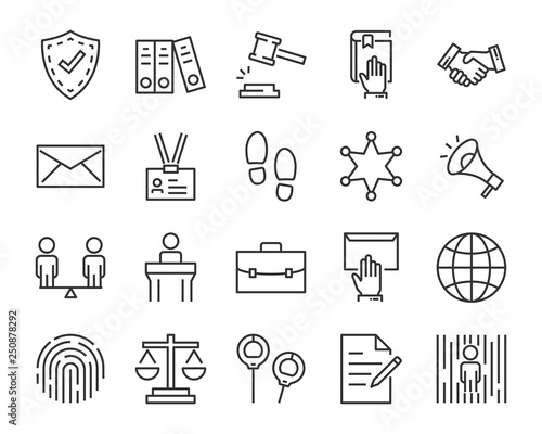 Fotografía  set of juctice icons, such as law, lawyer, work, legal, secure