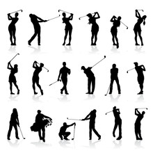 Male And Female Golf Silhouett...