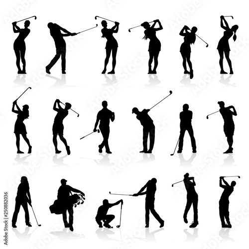 Foto Male and Female Golf Silhouettes Set
