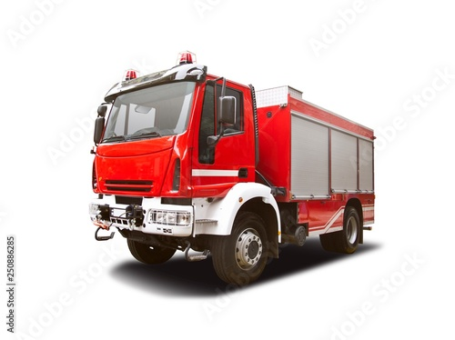 Photographie Fire truck side view isolated on white