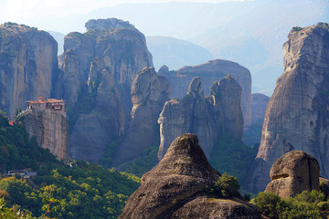 Beautiful landscape of Meteora, Greece with its monasteries, its mountains and nature