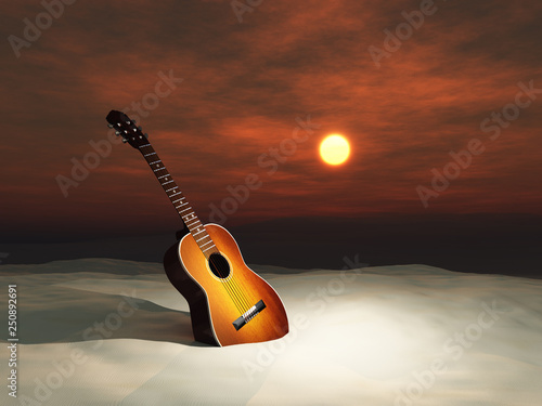 Fényképezés  Guitar in the sand at sunset