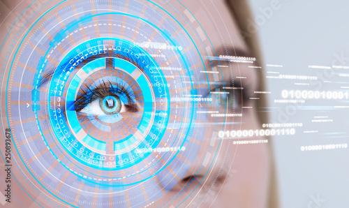 Fotografía  Woman eye in HUD, lines of code
